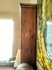 Side-view of Rustic pine bookcase.