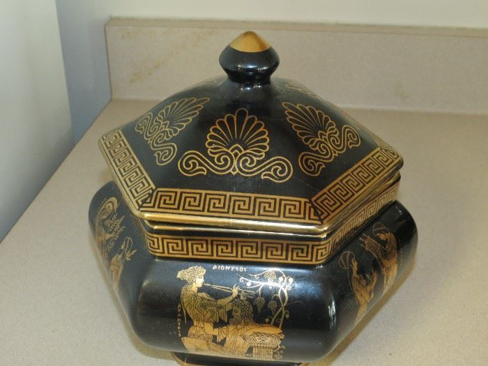 GREEK POTTERY WITH 24K GOLD TREATMENT.