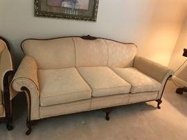 "#6 Victorian Gold Sofa w/qa legs wood trim 80"" Long  $100.00"