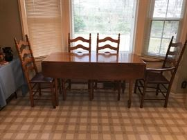 #9 Maple Table w/drop sides & 4 chairs  5ftx22-42x30  $175.00