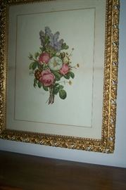 Art Floral gold frame pair
