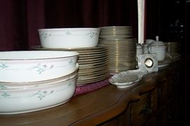 """China Lenox; """"Rose Manor"""" collection; Over 100 pieces including several serving pieces"""