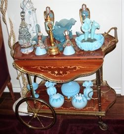 INLAID TEA CART AND FROSTED GLASS DECOR PIECES