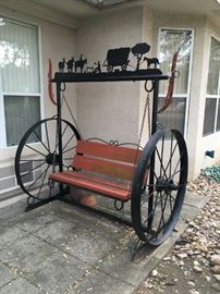 Iron western wagon wheel swing