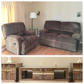 Family Room:  Wall Hugging Reclining Love Seat, Recliner;  Wood grain w/ Gold Trim Coffee Table, 2 Matching End Tables