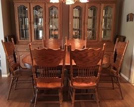 DR:  Oak Dining Table, 2 Leaves, 6 Chairs, 2 China Hutches