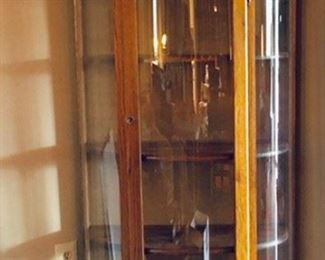 Oak Curved Glass Display Cabinet