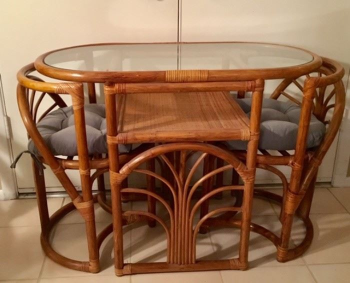 """Rattan/Glass-top Table w/ 2 """"Tuck Under"""" Chairs"""