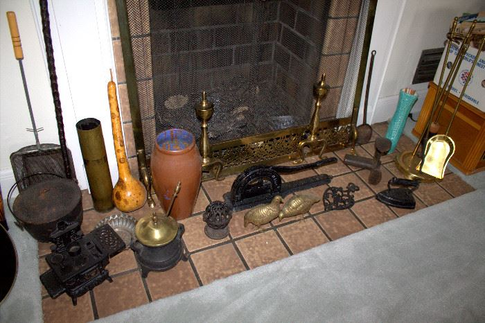 Cast iron and brass items