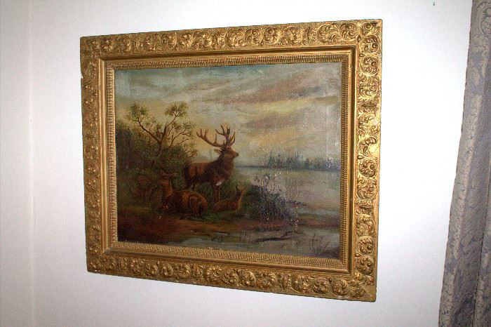 Large antique framed original oil painting