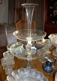 Antique tiered glass epergne