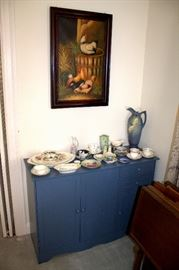 Blue cabinet, teacups / saucers, TV tray set, etc.