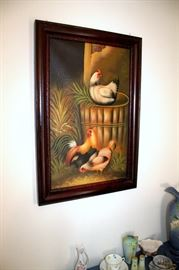 Pair of framed chicken oil paintings