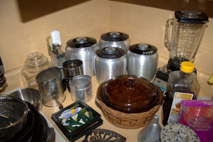 Vintage kitchen canisters and other kitchenware (some of these items may have sold)