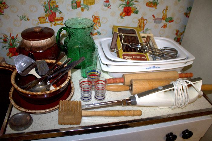 Brown dripware, Corningware, vintage kitchen items (some of these items may have sold)