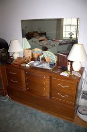 Mid-century modern bedroom set - full bed, dresser with mirror, chest-of-drawers