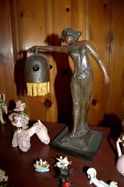 Fabulous antique German figural lady lamp - works!