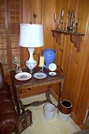 Antique table, crocks, brass items
