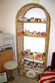 Rattan / glass shelf, vintage salt & pepper shaker collection