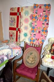 Beautiful vintage quilts, rocking chair