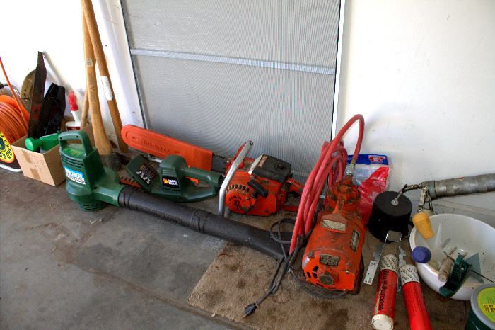 Blowers, chain saw, and other garage items