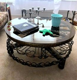 Awesome iron / glass wagon wheel coffee table - the wheel top spins!
