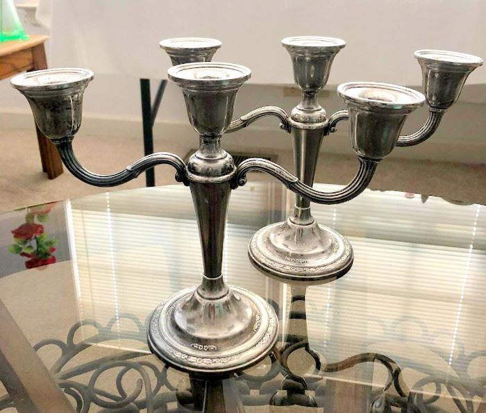 "Pair of International Silver ""Courtship"" weighted sterling silver small candelabras"