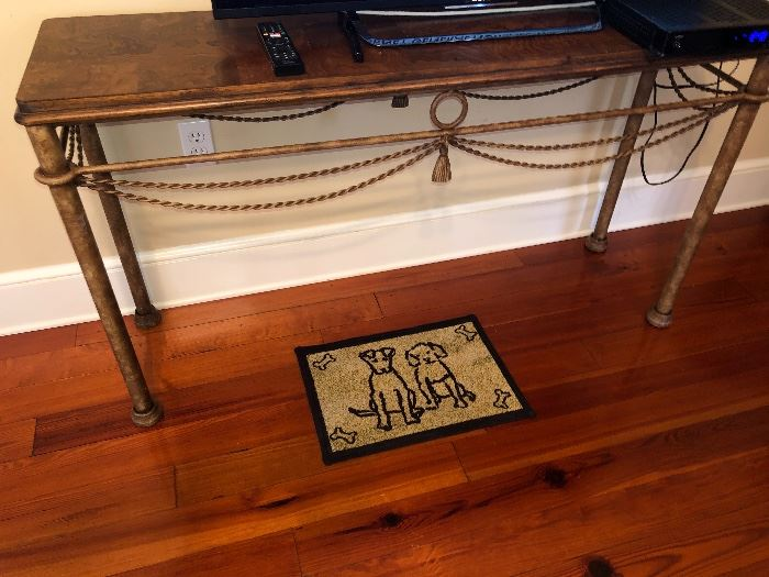 Metal console table ; with a pair of matching end tables.  Heavy.