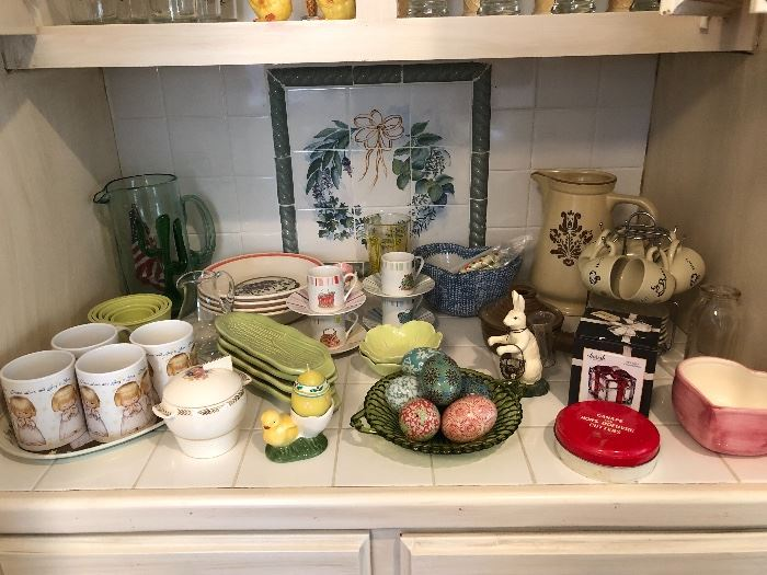 Collection of Easter, Pfaltzgraff and other stoneware and ceramics.   Ceramic Easter eggs