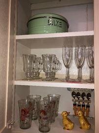 Vintage metal cake carrier, assorted kitchenware