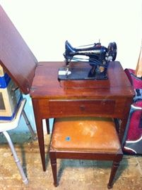 Vintage sewing machine and stool