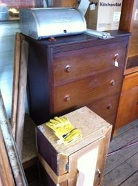 Chest of drawers, aluminum bread box, kitchen aid 9 cup food processor