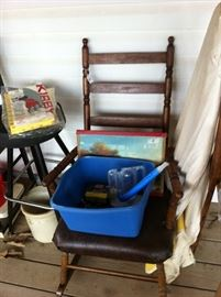 Rocking chair, ironing board, stool