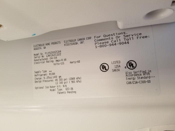 Frigidaire refrigerator mfg. 4/2014