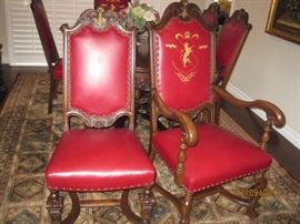 Side Chair and Captain's Chair with Lion Crest Back