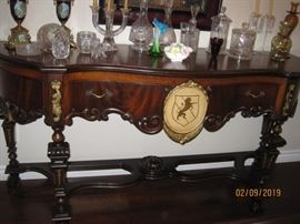 Matching 1930's Era Side Board with Lion Crest. Set is Available for Immediate Purchase, Asking $9,000.00 for All Pieces