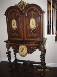 Matching 1930's Era Tall Hutch with Lion Crest  Available for Immediate Purchase As a Set  Asking $9,000.00 for All Pieces