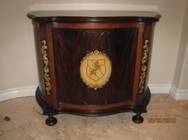 Shorter 1930's Era Cabinet with Lion Crest Available for Immediate Purchase as a Set. Asking $9,000.00 for All Pieces