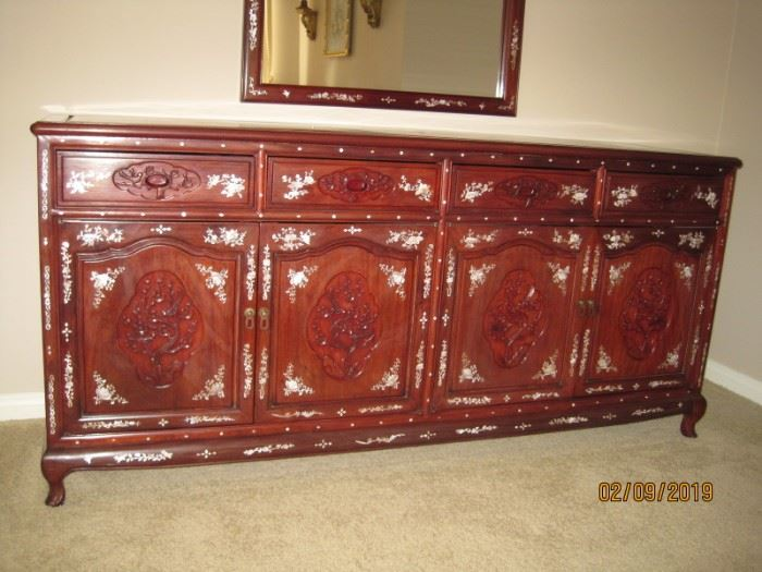 Front of Rosewood Mother of Pearl Inlay Dresser  Set is Available for Immediate Purchase.