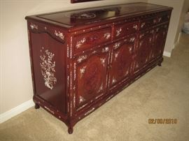 Long Chinese Style Rosewood Dresser with Mother of Pear Inlay. Bedroom Set Available for Immediate Purchase. Asking $2,800.00 for All Pieces