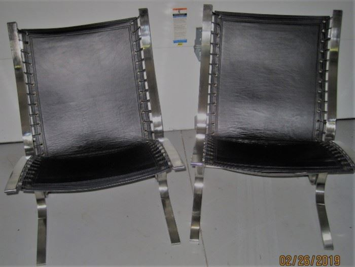 Restoration Hardware Sling Chairs, Black Leather. Still have original tags on so apparently never used!