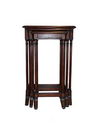 "Set of three Edwardian style reproduction nesting tables featuring column legs and stretchers. Beautifully finished in a rich dark wood stain with medium natural distressing.  A versatile style and size for a variety of decors!  Dimensions: Overall= 16.5""w x 16""d x 25.25""h Large= 16.5""w x 13.25""d x 25.25""h 