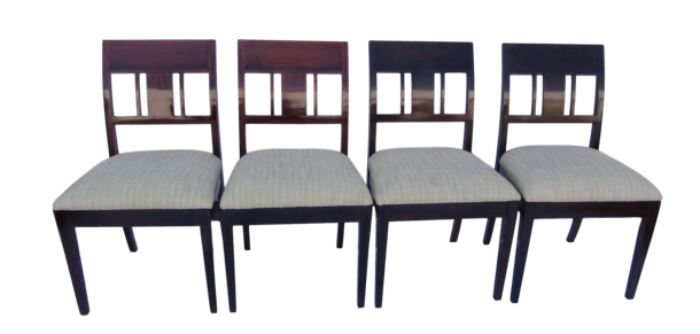 """Rosewood Side Chairs - Set of 4.                                   Details:  Four Rosewood side chairs with contemporary style splats. The four rosewood chairs in a natural lacquered finish accentuate the beautiful color of the wood, although two of the chairs appear more reddish and two are a bit darker. Upholstered in a woven silk cotton blend  fabric in an off white, teal, olive and avocado green color scheme. Fabric swatch available. Purchased from Susanne Hollis in Los Angeles. Dimensions: Chairs=19.75""""w x 22""""d x 35 3/8""""h Seat= 19.75""""w x 18.75""""d  Condition: Chairs have a few minor chips on the legs. One of the seats has a slight """"pull"""" in the fabric."""