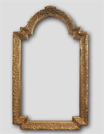 "Baroque Arched Mirror                                                     Details: Large baroque style rectangular wood mirror featuring a geometrically arched crest and an intricate floral scroll motif on the frame with deep bevelled sides. Backed with board. Ready to hang! Dimensions: 32""w x 1.75""d x 52.75""h (36lbs)"