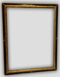 "Antique Black & Gold Mirror by Milch & Sons         Details: Handsome large black and Gold Antique mirror with gold gilt scalloped detail on corner and center edges by D. Milch & Sons – famous for their beautiful, elegant, yet versatile mirrors.  Dimensions: 39.25""w x 5""d x 49""h (41lbs)"