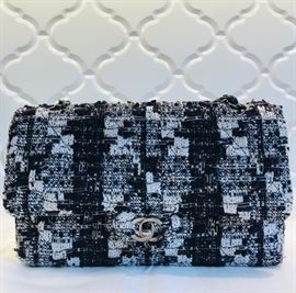 "CHANEL, quilted  fabric ""Double Flap"" shoulder bag. 26 x 15 x 7 cm."