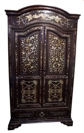 French Colonial Rosewood Cabinet with Mother of Pearl inlay.