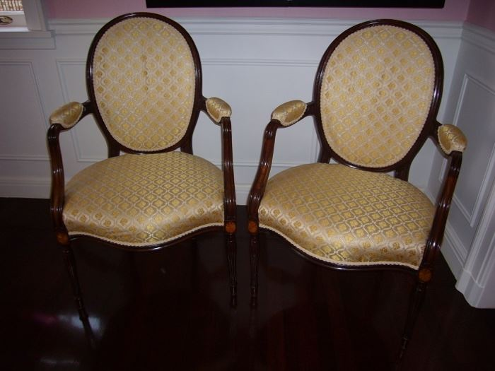 """Pair of George III Mahogany Armchairs                                       English, CIRCA 1780, 38""""h x 24"""" w x 21"""" d.               Notes: New fabric from Lelievre Paris, 100% Silk from Old World Weavers, Trim is Houles Montespan Braid, has original stuffing."""