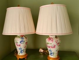 Pair of Floral Urn lamps with custom silk shades