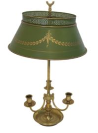 "3 Arm Brass Louis XVI Bouillotte Lamp with Green Tole Shade.                                                                                                   Dimensions: 24""h x 14""w  shade x 6.5"" base."